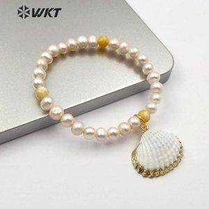 WT-B491 ultimi fatti a mano perle di design d'oro piena TIRM capesante fascino guscio di gioielli braccialetto di perle braccialetto spiaggia d'estate