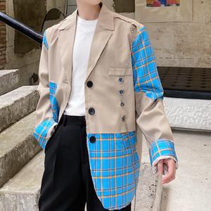 Kaki Mode Vintage Jacket Men Hip Hop Suit brisé la chaîne trou Plaid Splice Streetwear Blazers Costume Casual Manteaux hommes
