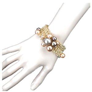 Cadena YESFOLLOW hecho a mano perlas de imitación de metal Declaración brazaletes de las pulseras de oro macizo pulsera del encanto de Femme 2020 Bijoux Vintage