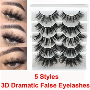 Maquillage Faux Cils dramatique 3D Mink Lashes main naturelle Fluffy Faux cils longs doux réutilisables 5 paires ensemble 5D Volumn Lashes