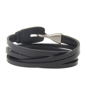 PU Leather Bracelet Multiple Layers With Hook Simple Vintage Classic Design