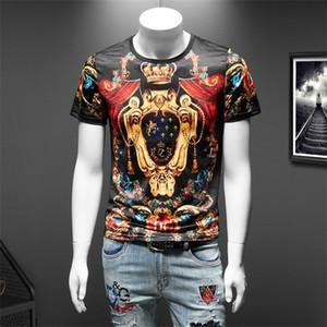 Luxury Golden Print Man's T-shirt Short Sleeve Streetwear T Shirt Male Funny Social Nightclub Tee Tops Men Clothes Big Size 7XL 0924