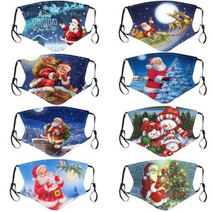메리 크리스마스 얼굴 마스크 아이 산타 클로스 선물 눈송이 어린이 만화 디자이너 얼굴 마스크 통기성 방진 PM2.5 성인 안면 마스크를 인쇄