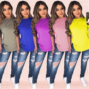 Color Shirt Women Sports Home Short Sleeve Designer Summer New Female Casual Loose Ladies Tshirt Tops Round Neck Tee Solid
