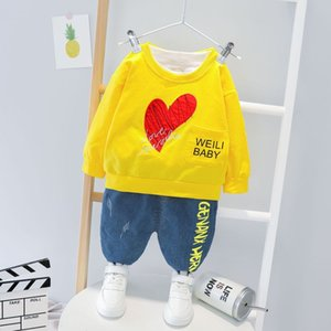 Autumn and winter fashion toddler child girl baby boy letter love long sleeve + jeans children clothes kid set