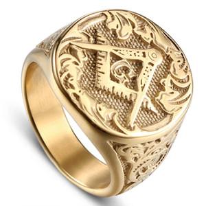 Gioielli maschio dito i membri del gruppo di moda speciali degli uomini dell'annata in acciaio inox anello di oro Mason massone massonico Anello punk