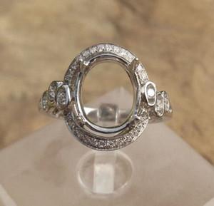 Бесплатная доставка 14k белое золото овальной формы 8x10mm Semi кольцо Маунт для женщин, обручальное кольцо