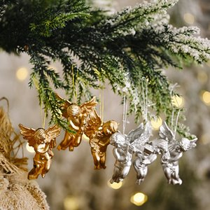 6pcs Gold Silver Angel Pendant 2021 Christmas Party Decoration Christmas Tree Decor Hanging Ornaments New Year Gifts For Kids