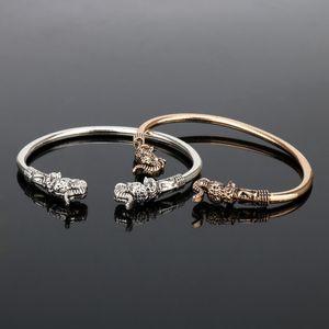 dongsheng Fashion Elephant Head Vikings Vintage Accessory Bangels Bracelets for women men Smooth Bangle Metal Jewelry -25