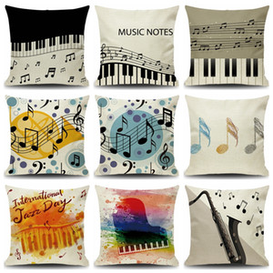 Musical Note Music Print Throw Pillow Cover Square Cushion Covers Linen Pillows Cases Sofa Home Decor Pillow Case