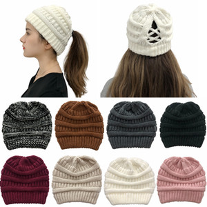 Winter Criss Cross Pferdeschwanz Beanie Warme Wolle Strickmütze Messy Kreuz Pferdeschwanz Knitting Hut Frauen-Winter-warme Mütze HHA1597