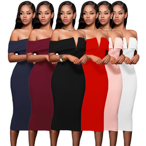 2020 Sexy Women Elegant Pencil Off Shoulder Party Bodycon Midi Pencil Women Dress