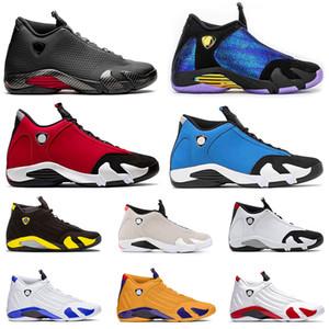 Nike Air Jordan 14 Retro Jordans 14s Jumpman XIV Hyper Königs Herren-Basketball-Schuhe 14s Chameleon Gym Blau Universität GoldsatinJordanienRetro Sport Turnschuh-Trainer