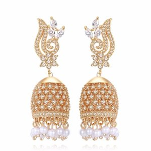 India Bollywood Luxury Jhumki Earrings Artificial pearls Golden Plated champagne Golden Chandelier Earrings India bride Jeweller