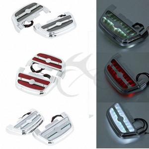 3 Stil LED-Licht Soziustrittbrettboden-Abdeckung für Touring Softail Road King FLHR Fat Boy Electra Motorrad ur7C #