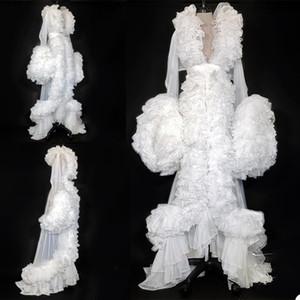 Femmes enceintes Kimono Parti manches longues Robe de nuit des femmes Peignoir Sheer Nightgown Rouge Blanc Gris Robe de bal de demoiselle d'honneur Shawel