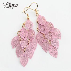Copper Filigree Leaves Earring Pink White Leaf Tassel Dorp Earrings long Dangle Earring for girl and women