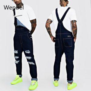 Delik Pantolon Popüler Artı boyutu Denim tulumları Kot Pantolon ile WEPBEL Erkekler Kayış Denim Romper Tulumlar Kot Pantolon