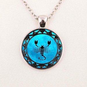 Leo zodiac Les pisces pendentif symbole bleu collier zodiaque Pisces Balance astrologie bijoux Sagittaire horoscope bijoux Scorpion