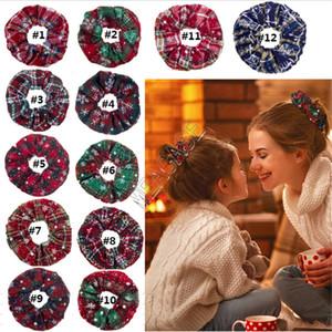 Christmas Scrunchies Elastic Hair Bands Xmas Snow Elastic Ring Hair Ties Plaid Cloth Ponytail Holder Ladies Girl Hairbands Ornaments D91504