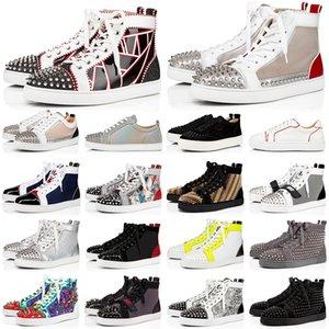 2020 Bottoms rouge hommes femmes chaussures mode pointes haut bas en cuir noir brillant blanc sneakers haut daim hommes appartements de chaussures casual ETUI