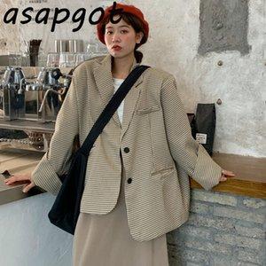 Asapgot Kore Sonbahar Chic Gevşek Oversize Ekose Blazer Ceket Casual Slim Retro Yüksek Bel Haki Etek Moda Suit Etek Seti