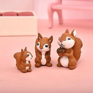 3pc Cute Squirrel Family Figurine Model Garden Fairy Ornament Glass DIY Accessories Home Decoration Decor Miniature Toy Craft