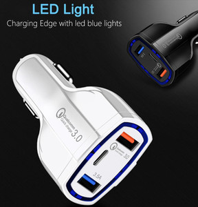DHL 50pcs Dual USB Car Charger 5V 7A Tipo C PD Porto Quick Charge QC3.0 Para iPhone 7 Samsung S10 Smartphone Universal carregamento rápido Adapter