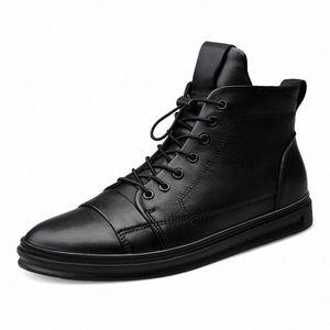 Youki homme Bottes d'hiver en peluche laine fourrure Homme botte en cuir véritable Chaussures Hommes Big Taille Dv2Q #