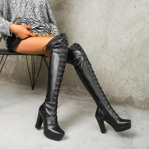 US4-13 Womens Platform Over The Knee Boots Block High Heel Lace Up Long Slim Punk Motorcycle Shoes Warm Winter Plus Size