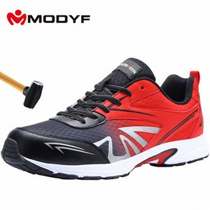 MODYF Mens Steel Toe Work Safety Shoes Lightweight Breathable Anti Smashing Non Slip Construction Protective Footwear sJzs#