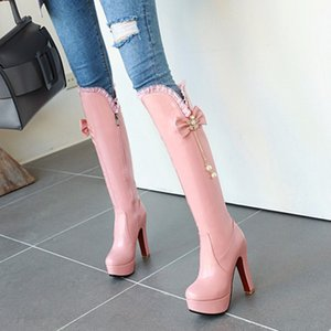 PXELENA Designer Charming Women Wedding Boots Knee High Super High Heels White Pink Bow Tie Pearl Ruffles Dress Shoes Plus Size