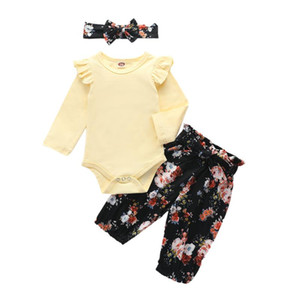 Комплекты одежды Осень осень младенца детские девушки 3 шт. Установите желтый сплошной цвет raffled с длинным рукавом Боди + цветочные печатные брюки + оголовье