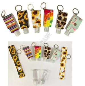 30ML Hand Sanitizer Bottle Sleeve Key Chain Fashion Leopard Sunflowers Printed Portable Hand Sanitizer Bottle Cover Sleeve Key Ring D92103