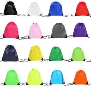 Taşınabilir D210 Polyester İpli Sırt Çantası Katı Renk Spor Moda Dize Katlama İpli Çanta Yaratıcı Depolama Saplı Çanta VT1628