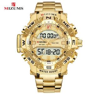 Orologi Mizums vigilanza di marca degli uomini di sport del quarzo degli uomini dell'acciaio impermeabile LED Digital Orologi d'oro per gli uomini Relogio Masculino
