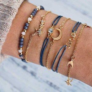 6pcs / set Charm Bracelet amor estrela lua crescente Bead pulseiras para presentes de aniversário da jóia da forma das mulheres tornozeleira pulseira de casamento