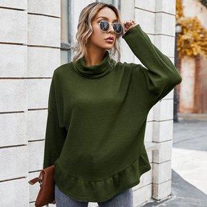 Moda Bayanlar Turtleneck Chic Triko 2020 Güz Kadın Yeni Turtleneck Casual tişört Kadın Tops