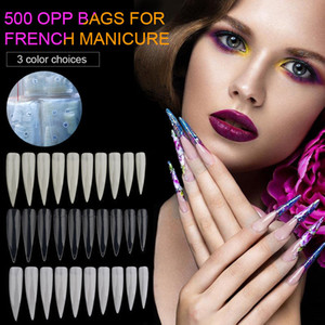 500pcs Nail Art Clear White Full Half Cover Oval Sharp End Stiletto Long False Fake Nails Tips Manicure Artificial Nails Salon