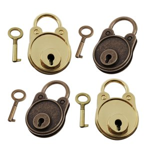 4Pcs Vintage Padlock Mini Lock With Key For Jewelry Box Storage Diary Book