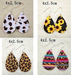 Pendientes de lágrimas de cuero femenino impreso para girasol de alta calidad Pendientes de flores en capas coloridas Pendientes de gota de agua regalos creativos