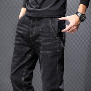 2020 Autumn New Classic Style Grey Black Slim Jeans Anti-theft Zipper Cotton Elastic Regular Fit Denim Pants Male Brand Trousers
