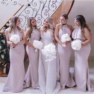 Lovely Pink Halter Crystal Beaded Floor Length Satin Mermaid Bridesmaid Dresses Zipper Back Wedding Party Bridesmaid Gowns L54
