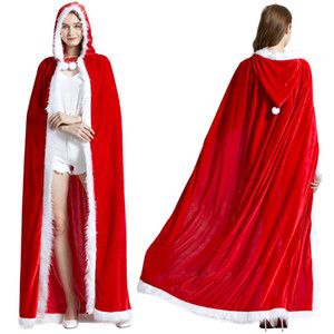 3Size Red Velvet Hooded Cape Cloak Sexy Santa Cosplay Christmas Costumes Women Carnival Party Clubwear Winter Warm Overcoat