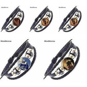 EJ joyería esmalte Grecia antigua para las mujeres del regalo de la nueva con la pulsera de cuero de cristal cabujón Negro brazalete