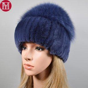 2020 New Style Women Real Genuine Fur Beanies Hat Girls Natural Real Rex Fur Skullies Cap Knit Winter Hats