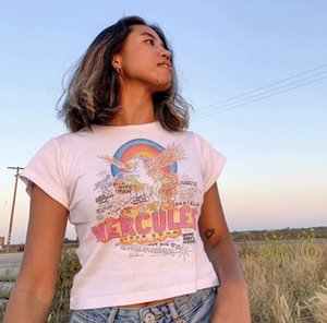 2020 summer Ms. White Horse Printed T-shirt Size S-XL