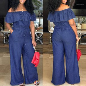 Clothing Word Shoulder Ruffle Womens Rompers Summer Plus Size Fashionable Ladies Jumpsuits Casual Breathable Women Designer