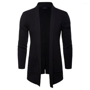 Mens Autumn manga outerwear casual Coats Moda Knit Com o Pocket Men Casacos Primavera Abrir Ponto suporte sólido Collar Longo