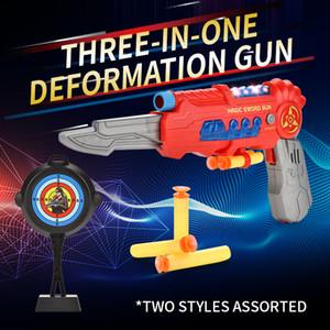 طفل ثلاثة في واحد التشوه بندقية لعبة المرح للأطفال اطلاق النار لعبة سحرية السيف بندقية بوي هدية